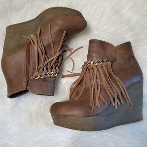 Sbicca Vintage Co. Zepp Wedge Fringe Ankle Bootie